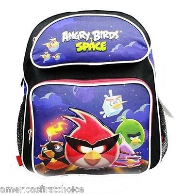 "Angry Birds Space Blue School 16"" Backpack Back Pack! Angry Birds Backpack-New"