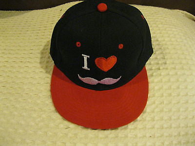 I Love my Mustache Red Embroid Mustache Red Brim Truck Adjustable Cap/Hat-New!