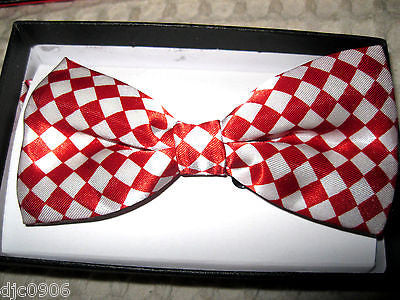 SHINY SOLID RED&WHITE CHECKERED SQUARED ADJUSTABLE  BOW TIE BOWTIE-NEW GIFT BOX!