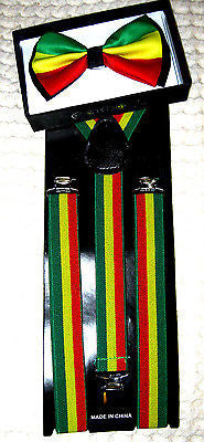 Rasta(green/yellow/red) Adjustable Bowtie and Adjustable Suspenders Combo-New!