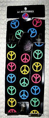 "Thick 1 1/2"" RAINBOW Multi Color Peace Signs Y-Style Back suspenders-New!"