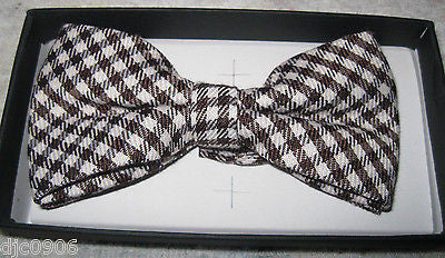 Tan Beige Checkered Diamonds Adjustable Bow tie&Beige Adjustable Suspenders Set