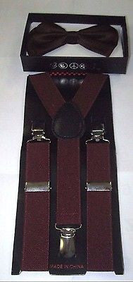 Kids Teens Burgundy Adjustable Bow Tie & Burgundy Y-Back Suspenders-New!VERS2
