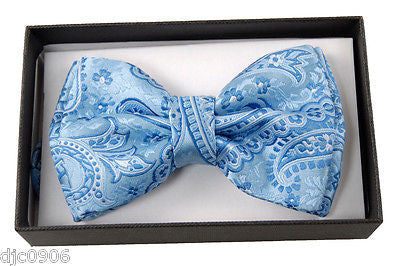 SILVER GRAY GREY PAISLEY DESIGN ADJUSTABLE BOW TIE-PAISLEY DESIGN BOW TIE-NEW!