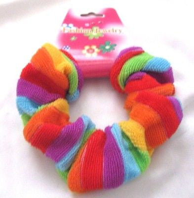 "Rainbow Stripes Gay Pride 1"" Wide Hair Scrunchie-Brand New with Tags!"
