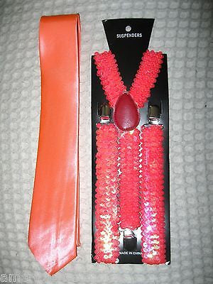 Solid Peach Sequin Y-Back Adjustable Suspenders-New in Package! Peach Suspender