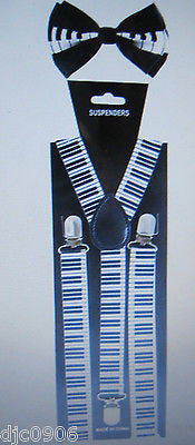 Black with White Tips Adjustable Bow Tie & Black White Stripes Suspenders Set-V1