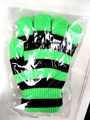 NEON GREEN WITH BLACK STRIPES STRIP STRIPPED GLOVES-NEW! NEON GREEN GLOVES