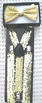 Gold Sequin Adjustable Bow tie&Gold Sequence Adjustable Suspenders Combo-New!v2