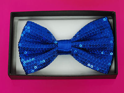 Unisex BLUE Sequin Tuxedo Classic BowTie Neckwear Adjustable Bow Tie-New