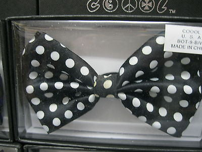 UNISEX ADULT KID BLACK WITH WHITE POLKA DOTS ADJUSTABLE BOWTIE BOW TIE-NEW!