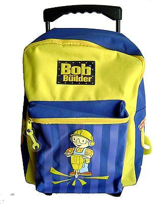 "Bob the Builder 16"" Rolling Blue/Yellow Backpack with Straps-New with Tags!"