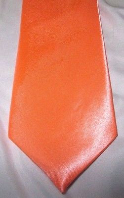 "Unisex Neon Bright Peach Orange Silk Feel Polyester Neck tie 56"" L x 3"" W-New"