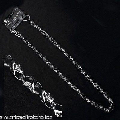 "12"" SILVER SKULL AND CROSSBONES WALLET JEAN CHAIN HIP HOP PUNK KEYCHAIN-NEW"