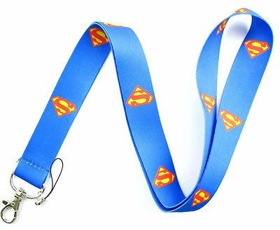 "Superman Black with Superman Logo 15"" Lanyard/Landyard ID Holder Keychain-New!"