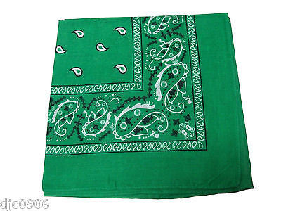 100% Cotton Paisley Green Bandanna Face Mask Head Wrap Scarf Wristband-New!