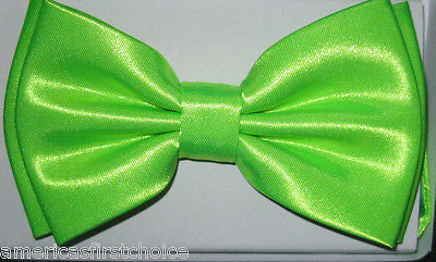SOLID NEON GREEN TUXEDO BOW TIE+NEON GREEN WIDE ADJUSTABLE SUSPENDERS COMBO SET