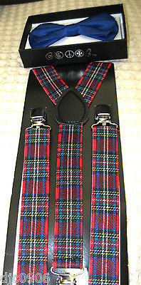 ROYAL BLUE TUXEDO ADJUSTABLE BOWTIE+RED BLUE PLAID ADJUSTABLE SUSPENDERS COMBO!!