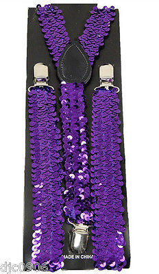 PURPLE Sequin Y-Shape Back Adjustable Suspenders Unisex,Men,Women-New in Package