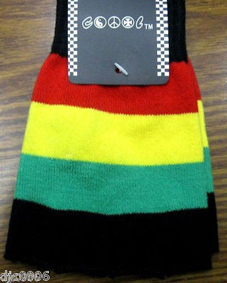RASTA RED YELLOW GREEN STRIPES JAMICIAN KNIT FINGERLESS GLOVES WINTER WOMENS MEN
