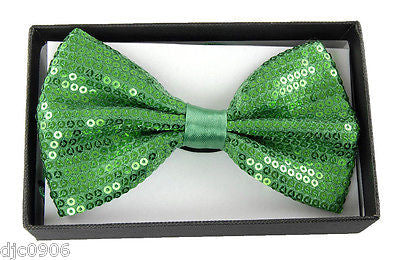 Unisex GREEN Sequin Tuxedo Classic BowTie Neckwear Adjustable Bow Tie-New