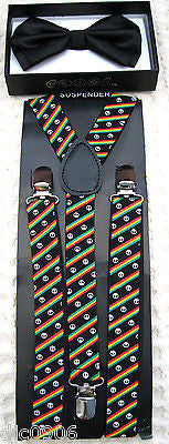 BLACK TUXEDO ADJUSTABLE BOW TIE+RASTA STRIPES PEACE SIGNS  SUSPENDERS COMBO