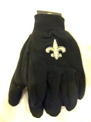 New Orleans Saints Black with White Team Logo Licensed NFL Sport Utility Gloves