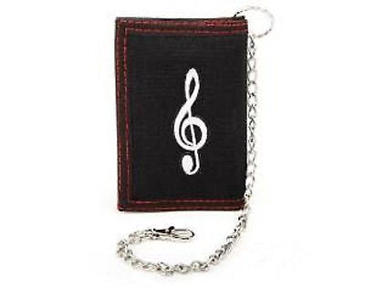 Tri-fold Fabric Wallet with Embroidered Music G-clef Patch with Belt Chain-New!