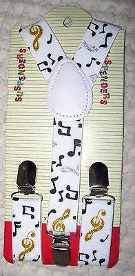 Kids Boys Girls Black with white musical notes  Y-Back Adjustable suspenders-New