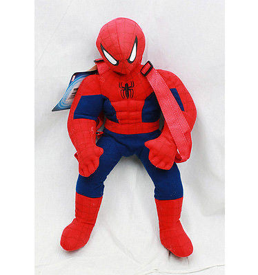 "Marvel Black Red Spiderman Zipperup Plush Backpack Tote 20"" NEW with Tags!"