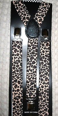Unisex Tan Beige & Black Leopard Print Animal Print Y-Style Back suspenders-New!