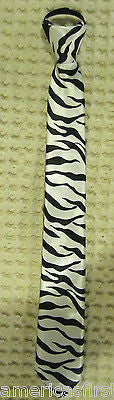 "Teens Black & White Thin Zebra Stripes Adjustable 14"" Pre-tied Necktie-New!"