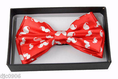 Red with White Mustaches Adjustable Bow tie Bowtie-Red White Mustaches Bow Tie
