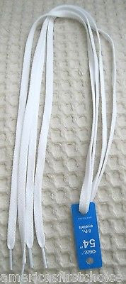 "Premium 54"" thin Solid White Design Rockabilly Punk Shoe laces Shoelaces-New!"