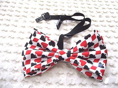 POKER PLAYING CARDS HEARTS,SPADES,CLUBS, & DIAMONDS ADJUSTABLE  BOW TIE-NEW!