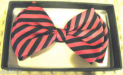 BLACK AND HOT PINK SWIRL STRIPED ADJUSTABLE BOWTIE BOW TIE-NEW GIFT BOX!