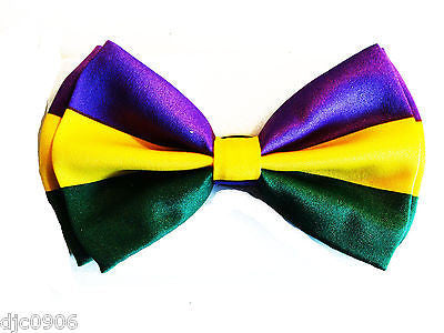MARDI GRAS (PURPLE/YELLOW/GREEN) MULTI COLOR ADJUSTABLE BOWTIE BOW TIE-NEW!