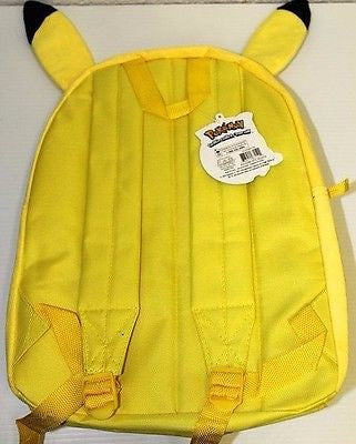 "Pokemon Pikachu 3D Ears Yellow School 10"" Backpack Back Pack!Pikachu Backpack"