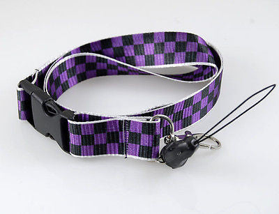 "Black & Purple Checkers Checkered Design 15"" lanyard for ID Holder Mobile Device"
