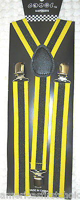Black & Bright Yellow Stripes Y-Back Adjustable Suspenders Unisex,Men,Women-New!