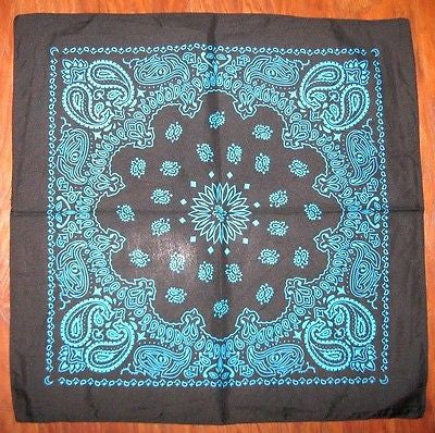 100% Cotton Paisley Turquoise Bandana Double Sided Head Wrap Scarf Wristband-New