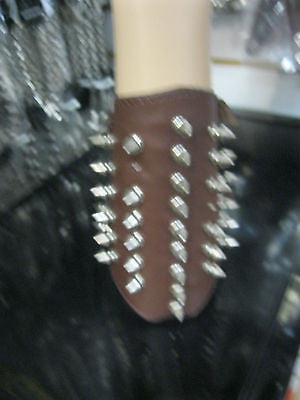 Brown Leather Spike 2 Strap Arm Wrist Cuff Band, METAL-PUNK-GOTHIC-BIKER Styles