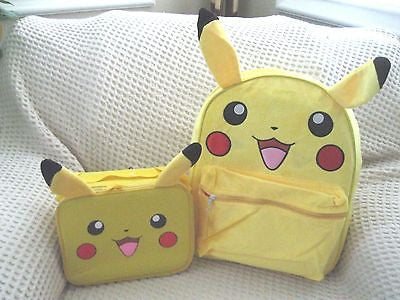 "Pokemon Pikachu 16"" with Ears Backpack,Lunchbox with Ears Combo-New with tags!"