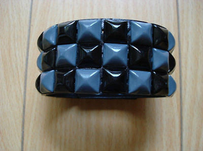 Black and Blue Studded three row Leather Bracelet Band-New!Studded Bracelet