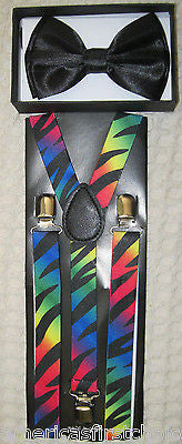 Black Tuxedo Bow Tie & Rainbow Black with Zebra Stripes Suspenders Combo Set-New
