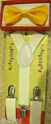 Yellow Kids Boys Girls Y-Style Back Adjustable Bow Tie & White Kid suspenders-