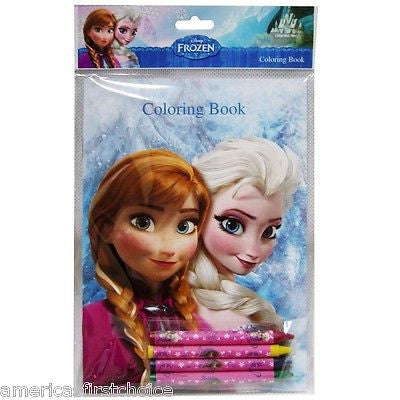 Disney Frozen 12 (6 different designs) of Elsa,Anna,Olaf Coloring Books&Crayons