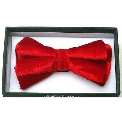 RED SOFT VELVET TUXEDO ADJUSTABLE BOWTIE BOW TIE-NEW IN GIFT BOX!RED BOW TIE