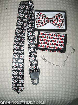 Poker Player Cards Adjustable Bow Tie&Poker 4 of a kind 4 Aces Neck Tie-New!v2