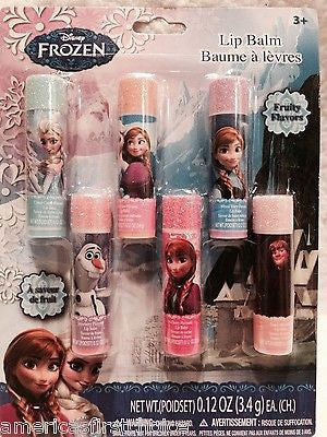 Disney Frozen 6 Count Fruity Flavor Lip Gloss Set Olaf, Anna, and Elsa-New!